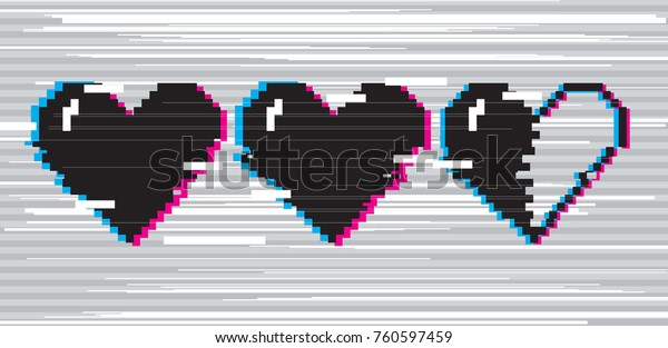 Pixel art 8 bit style hearts for game. Black stylized illustration with concept of spendable lives game mode. Two full hearts and one in half with glitch VHS effect.