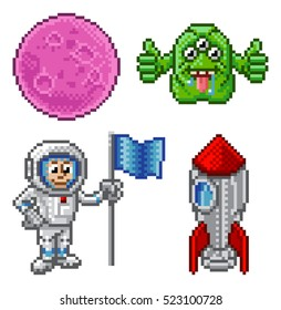 Pixel art cartoon graphic space set with alien, planet astronaut and rocket