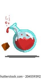 Pixel art depicting a bottle with red blood in it.