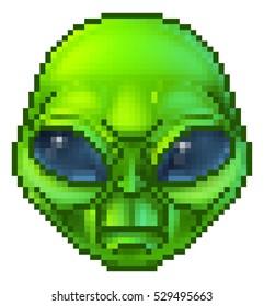 Pixel art green cartoon alien character