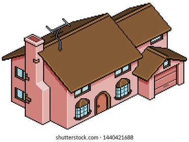 Pixel art house of the simpsons isometric 8 bit 16 bit