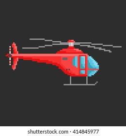 Pixel art illustration of helicopter. Airline service. Flying air transport