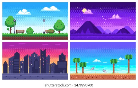 Pixel art landscape. Summer ocean beach, 8 bit city park, pixel cityscape and highlands landscapes arcade game. Pixelated scene, pixelation gaming playing level  background set