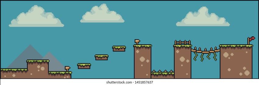 Pixel art scene for 2d 8bit game