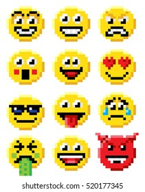 Pixel art set of emoji or emoticon face icons in a retro 8 bit video game style