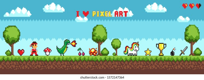 Pixel art style, character in game arcade play raster. Man with sharp sword fighting against dragon, retro gaming mode, unicorn and icons trophy star