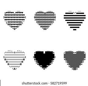 Pixel Ascii Hearts