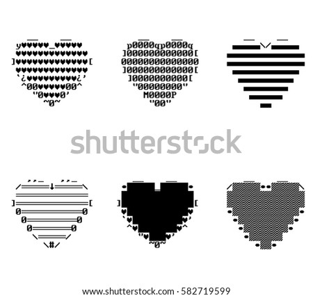 Pixel Ascii Hearts Stock Illustration 582719599 Shutterstock