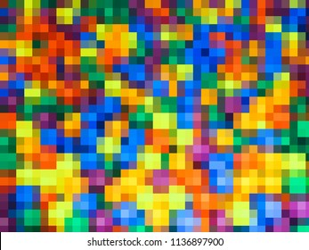 Pixel background with many different colored squares. Seamless background with many bright squares. Abstract background.