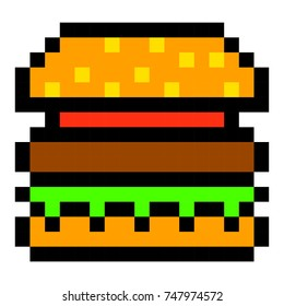 pixel burger hamburger art cartoon retro game style set