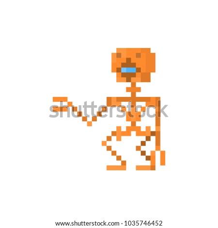Pixel Character Steam Punk Robot Games Stock Illustration