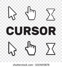 Pixel cursors icons mouse hand arrow. Mouse computer cursor.