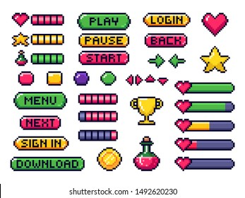 Pixel game buttons. Games UI, gaming controller arrows and 8 bit pixels button. Game pixel art magic items, digital pixelated lives bar and menu button.  isolated symbols set