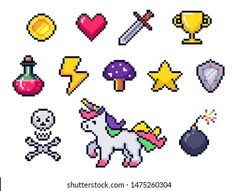 Pixel game items. Retro 8 bit games art, pixelated heart and star icon. Gaming pixels, arcade pixelation game unicorn, bomb and coin. Colorful isolated icons set