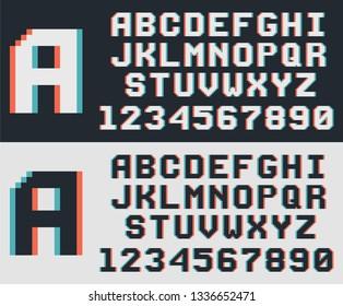 pixel game retro font, 8-bit alphabet