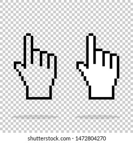 Pixel hand on isolated background. Illustration