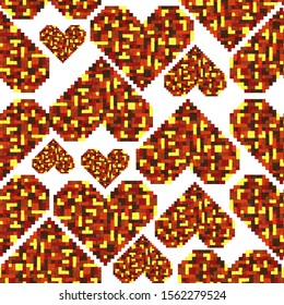 pixel heart pattern - autumn colors on white background