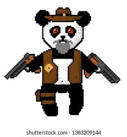 Pixel Panda cowboy. In a cowboy hat with two guns.