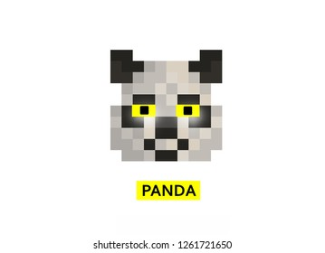 pixel panda for games and applications .illustration.Concept style