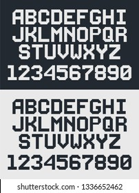 pixel retro font, 8-bit letters and numbers
