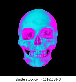 Pixel sorting glitch art of colorful psychedelic front side skull from 3D rendering isolated on black glitched background.