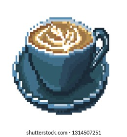 Pixel-art. Cup of cappuchino coffee.