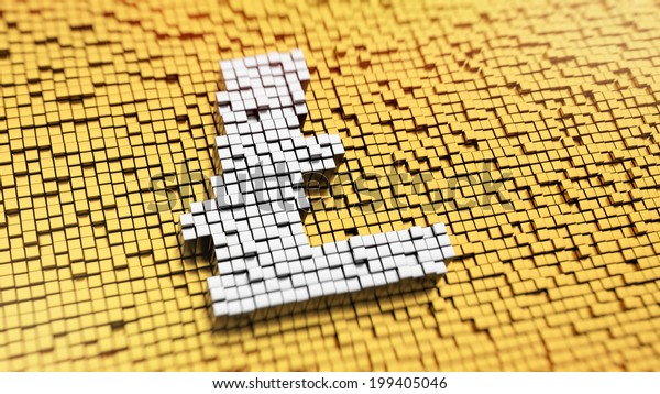 Pixelated Litecoin symbol made from cubes, mosaic pattern