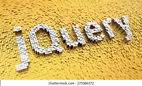 Pixelated word 'jQuery' made from cubes, mosaic pattern