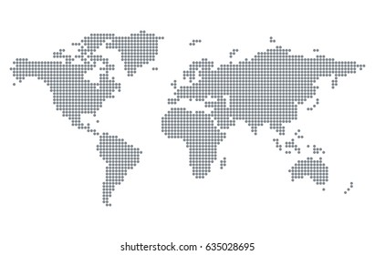 Pixelated world map isolated on white background. Stylized dotted Earth template for website, infographics, design. Modern flat illustration.