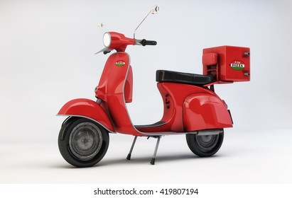 pizza delivery scooter-3d rendering