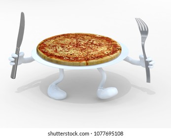 pizza dish with arms, legs and fork on hand, 3d illustration