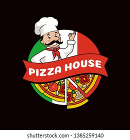 Pizza house promo logotype composed of cook in hat with mustache slices tasty ingredients and italian flag isolated cartoon raster illustration.