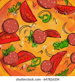 Pizza illustration of tasty pizza. Pizza top view. Tomato, green, sausages or salami.Illustration for pizzeria, restaurant ad, logo design, delivery service.