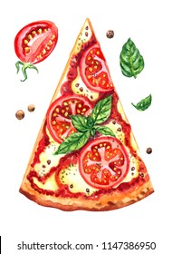 Pizza Margarita with tomatoes and basil, watercolor illustration on a white background isolated, element for various designs, clipart, print for fabric, home decor, etc.