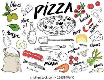 Pizza menu hand drawn sketch set. Pizza preparation design template with cheese, olives, salami, mushrooms, tomatoes, flour and other ingredients. illustration isolated on white background.