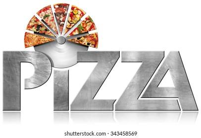 Pizza - Metal Symbol with Slices of Pizza / Metallic icon or symbol with text Pizza, stainless steel pizza cutter and slices of pizza. Isolated on a white background