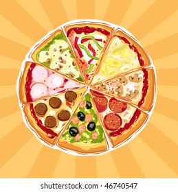 Pizza Pie With Different Toppings