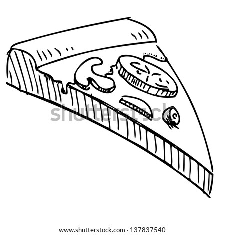 Royalty Free Stock Illustration Of Pizza Piece Icon Hand Drawing