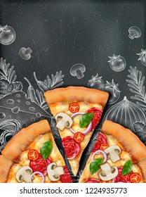 Pizza poster ads with 3d illustration food and woodcut style illustration on chalkboard background, top view