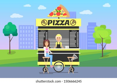 Pizza poster cityscape street food stall selling pizzas in park, seller and customer sitting on stool, trees clouds isolated raster illustration