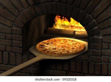 Pizza  resting on a wooden spatula inside a sood fired brick pizza oven