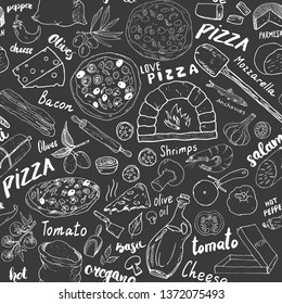 Pizza seamless pattern hand drawn sketch. Pizza Doodles Food background with flour and other food ingredients, oven and kitchen tools. illustration.