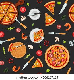 Pizza Seamless Pattern with Ingredients Background