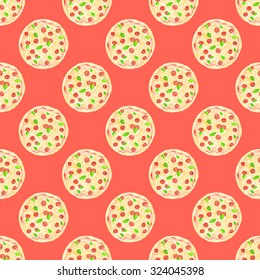 Pizza. Seamless pattern with italian pizzas. Hand-drawn original food background. Real watercolor drawing.