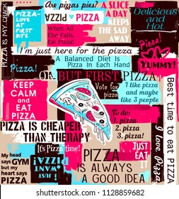 Pizza, slice of pizza, cafe, collage, sayings and quotes, seamless pattern, lettering