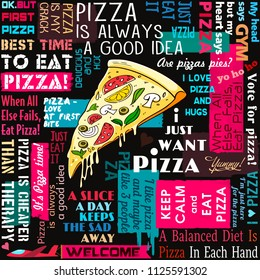Pizza, slice of pizza, coffee shop, collage, sayings and quotes, seamless pattern, lettering