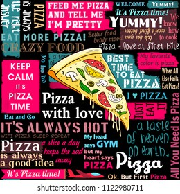 Pizza, slice of pizza, coffee shop, sayings and quotes, seamless pattern, collage, delivery service
