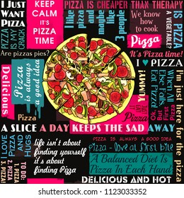 Pizza, slice of pizza, coffee shop, sayings and quotes, seamless pattern, collage, lettering