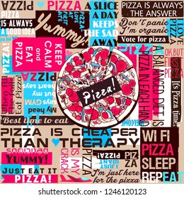 Pizza, slice of pizza, slogans, sayings and quotes, template