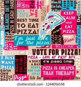 Pizza slogan, slice of pizza, collage, sayings and quotes, seamless pattern, delivery service